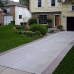 Cement Patio With Paver Border